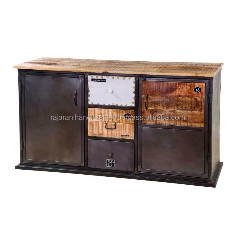 Industrial & vintage Iron Metal & solid wood 2 door 3 drawer Cabinet