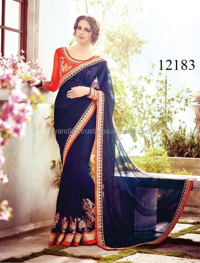 Latest Blue Color Indian Saree/Shari/Sari for party Wear