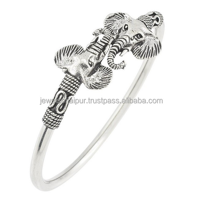 New Wholesale Animal Elephant Welcoming Antique 925 Sterling Silver Bangle Open Cuff For Women