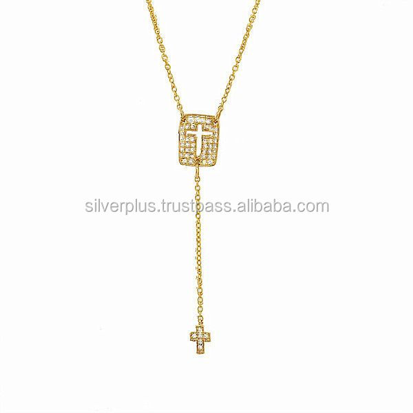 Pave Diamond Cross 18k Yellow Gold Chain Necklace Jewelry