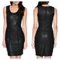 new design leather dress /leather hot wear/stylish leather women wearing