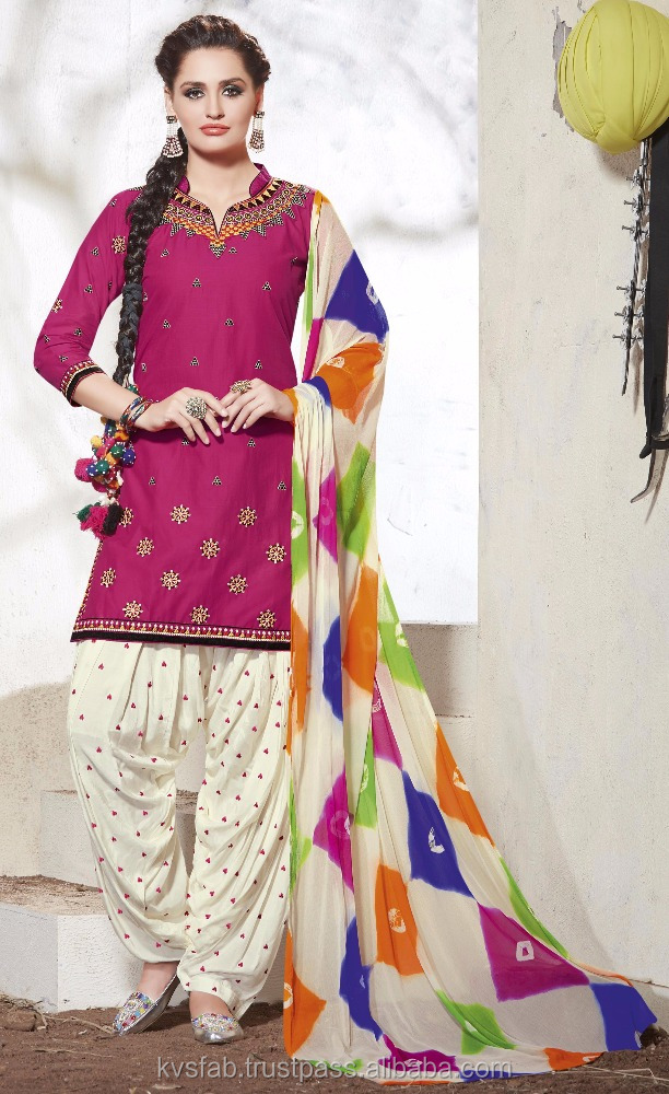 Cotton Patiala Suit With Embroidery work