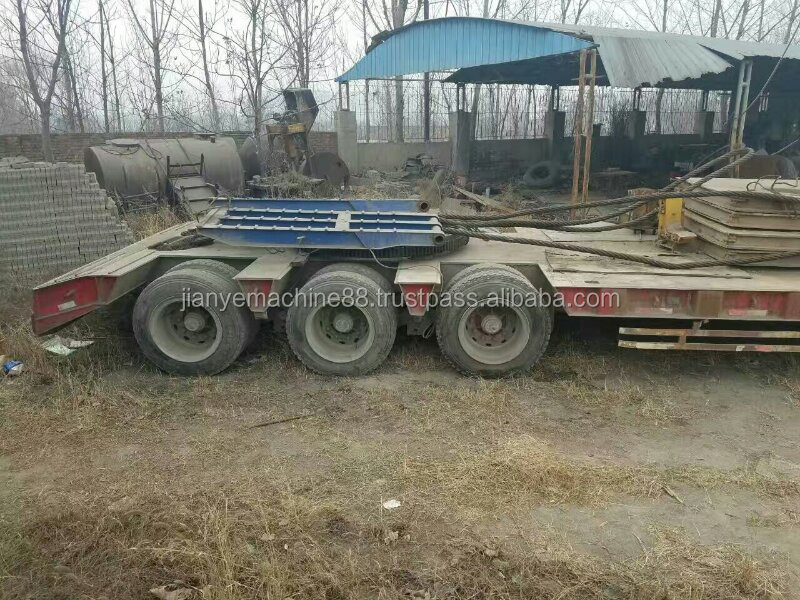 Used 13.5 meters low bed trailer truck loading digger,flatted semi trailer
