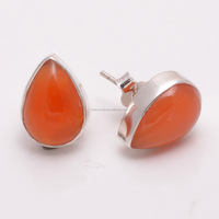 925 Solid Sterling Silver Earrings Carnelian