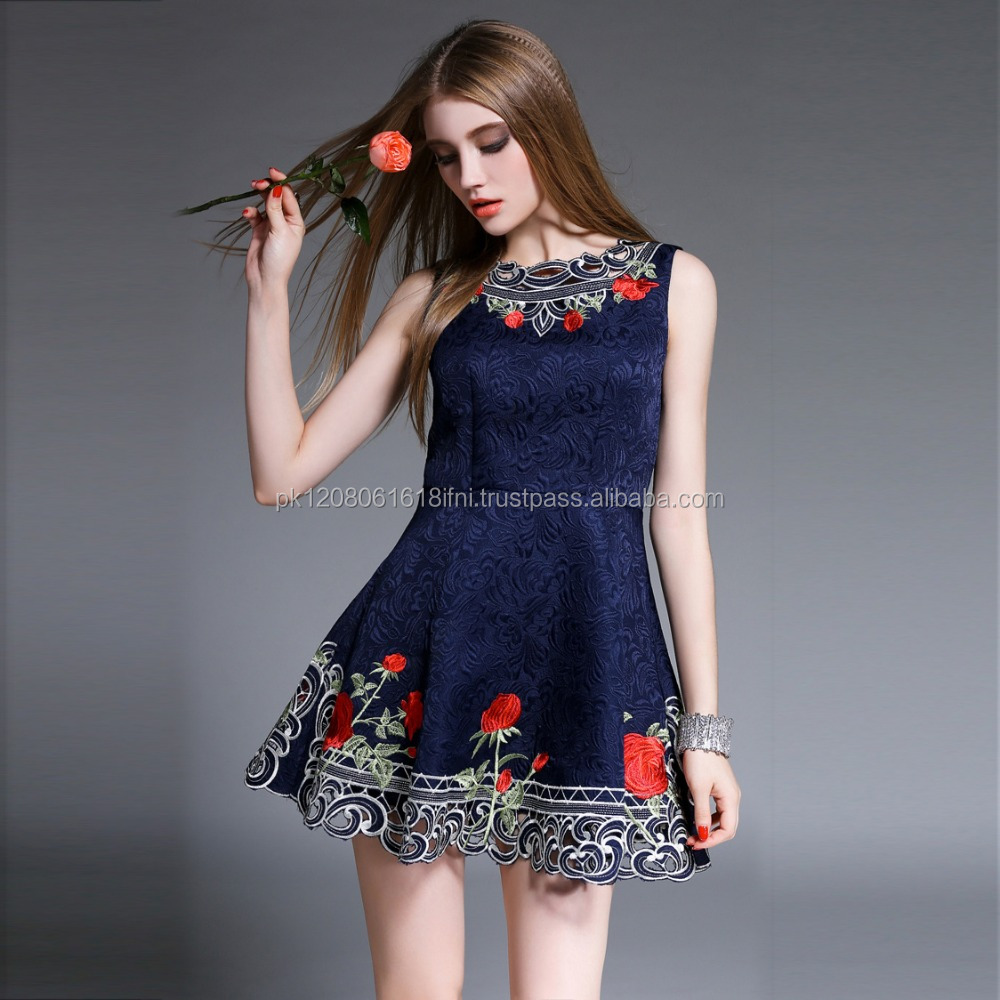 Hot selling item beautiful cut work printed jeans skirt dress with embroidery