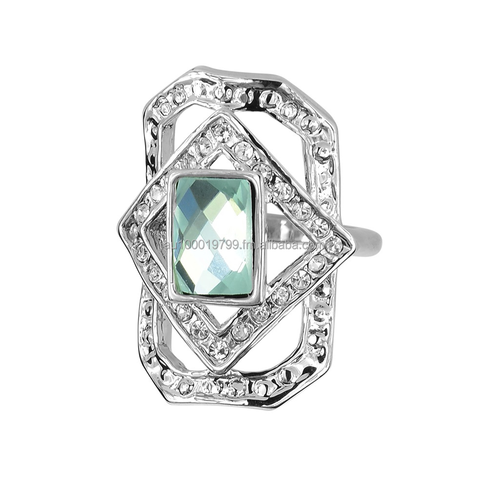 Peridot Light Cubic Zirconia Rectangle Ring
