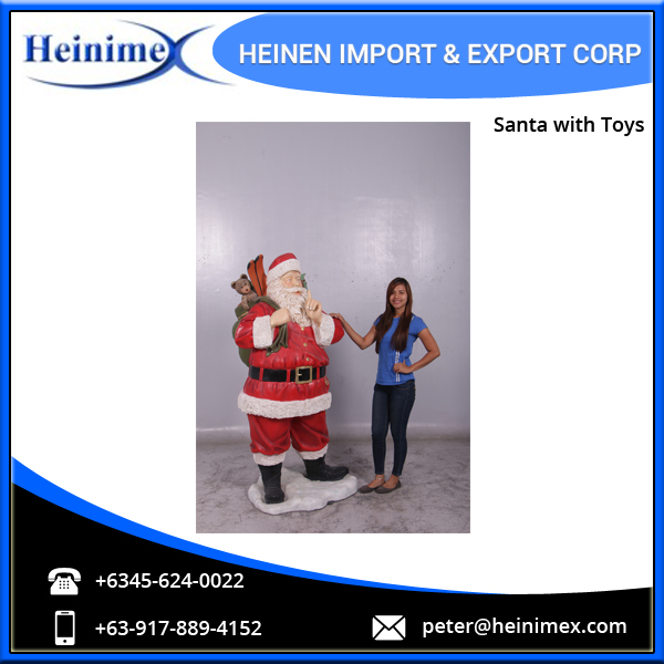 High Quality, Durable, Cold Cast Poly-Resin & Fibre-glass Santa with Toys