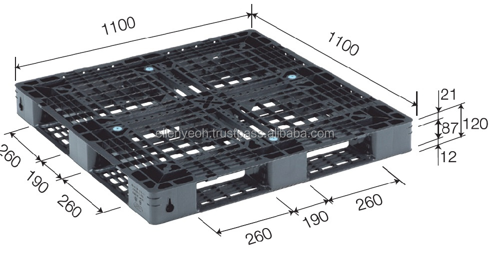 1100x1100x120 mm Malaysia Plastic Pallet for Export