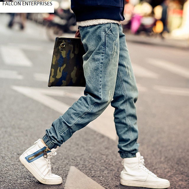 New Korean Style Men's Jeans Distrressed Jogger Jeans Slim Fit Denim Pants Skinny Stretch Elastic Jeans