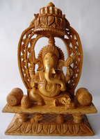 Super Fine Hand-Carved Indian Wooden Ganesha Statue - Sculpture of Ganesh, The Hindu God - Perfect Gift For Festivals
