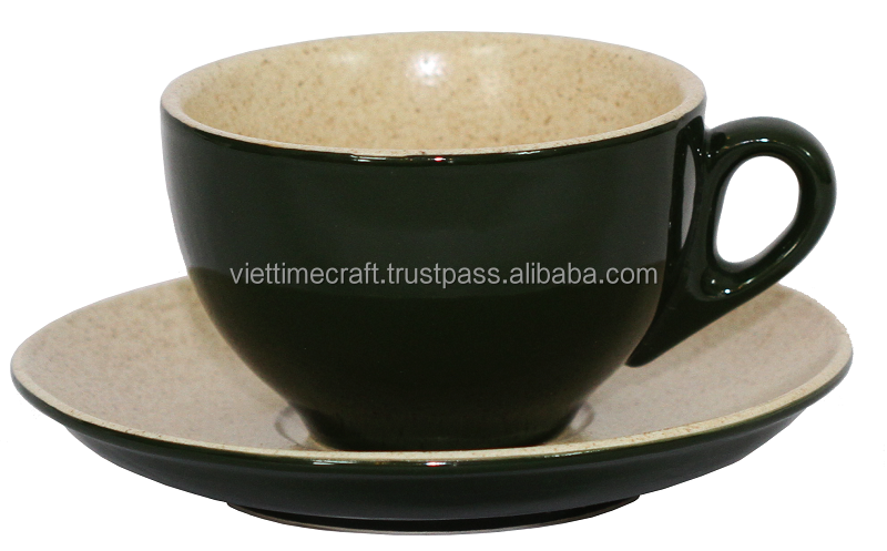 High quality ceramic cup & saucer set, price reasonable, made in Vietnam, code QV416 15