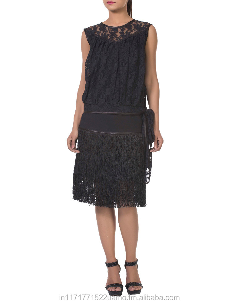 Black lace net cutout front panel sleeveless top with satin piping and waist pussy bow.
