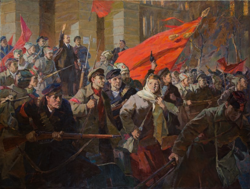 Lenin at Zimniy Palace assault. Painting 215 X 135 sm.