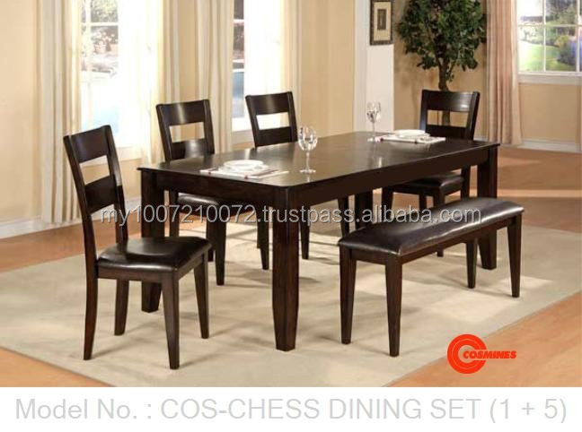 Wooden furniture, dining set, dining table and chairs, wooden table, wooden chair, bench, cushion seat