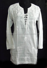Buy Various High Quality Indian Lucknow Chikan Embroidered Kurti ,Top Tunics Online