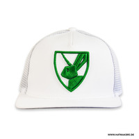 Mesh Back Cap - 5 Panel With Peak - Fabric: Nylon Mesh & Cotton Twill - Crown: Medium - Visor: A-Frame - Color: White