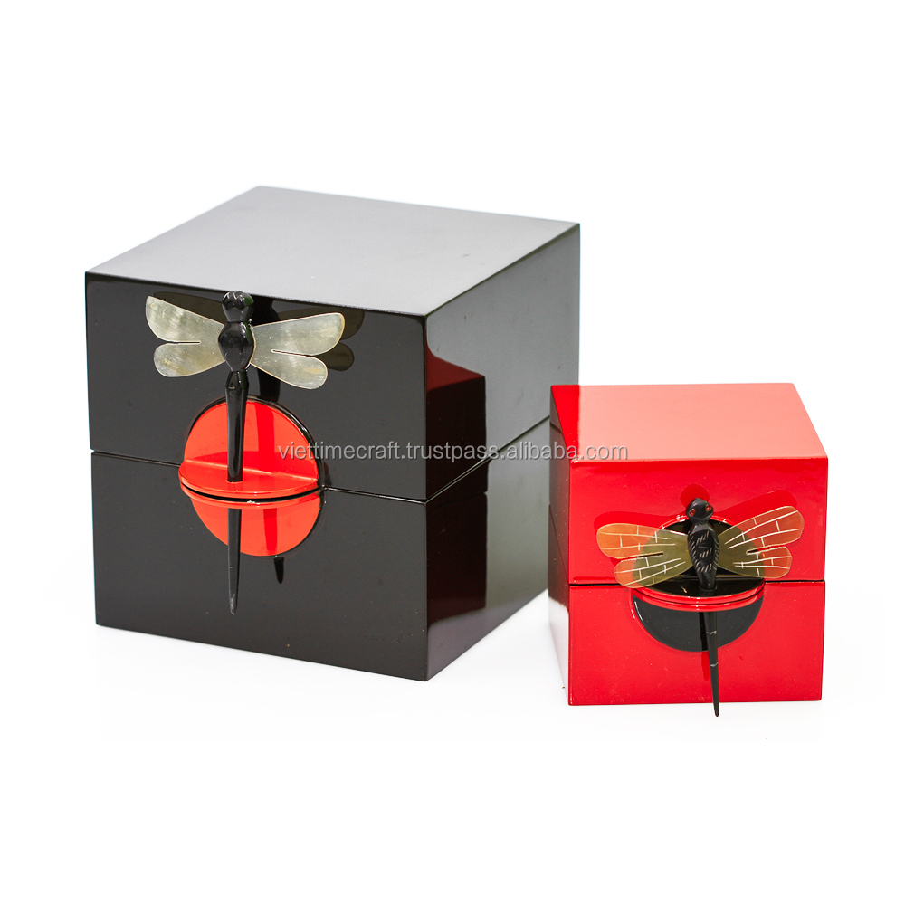 Vietnam lacquer square jewelry box with dragonfly key, handmade in Vietnam