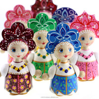 Lubava Doll in Russian style, Russian wooden doll, hand painted folk dolls in assorted colors, KK1