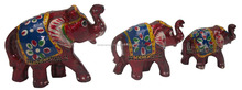 Wooden Painted Trunk Up Thick Elephant Set of 3 pcs, Decorative Wooden Figurines