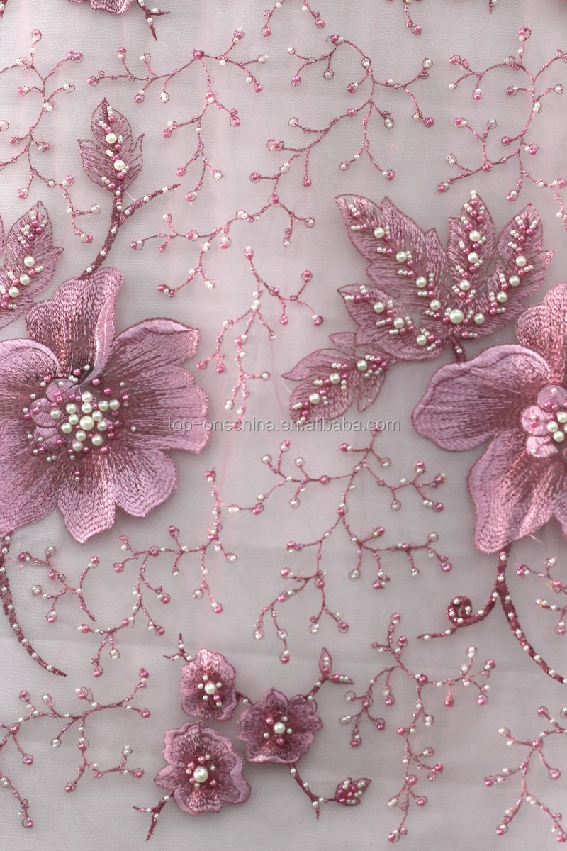 Korea mesh french lace fabric beaded embroidery