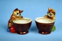 Ceramic candy jar cute jars for candies and cookies Kitten with a basket