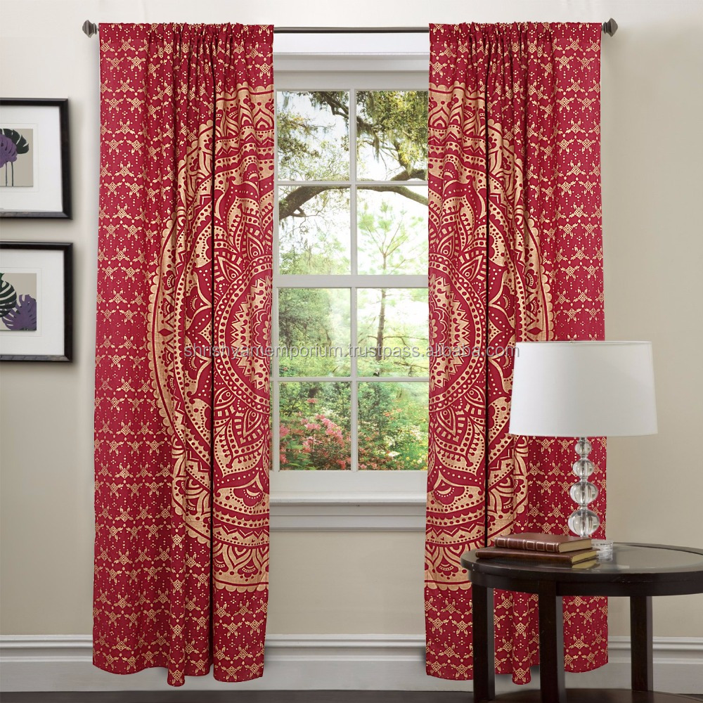Traditional Tapestry Curtains Indian Mandala Curtains, Tapestry Drapes, Window Treatment Bohemian Set Design Mandala Curtains