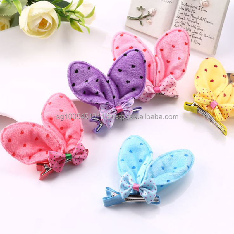 Korean Rabbit Ears Barrette (Hair Clips/ Hair Grips, Hairs Bands, Hair Ties)