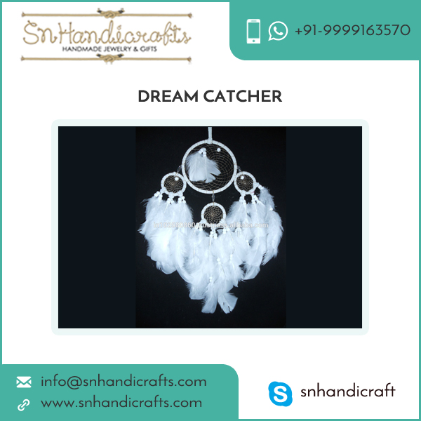 Handmade Pure White Dream Catcher with Feathers for Wall Hanging Decoration