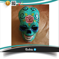 Top Model Artificial Resin Skull Head Hand painted Flower Tribal