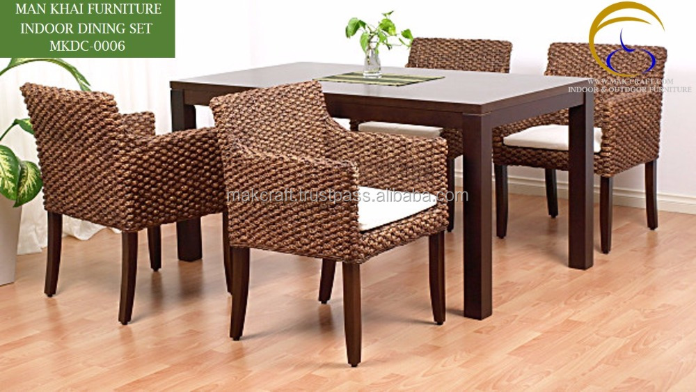 Water Hyacinth Handicraft Dining Table and chairs - Indoor Rattan dining set - Rattan solid wood dining room furniture
