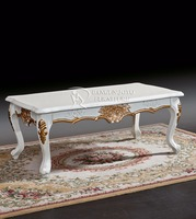 American Luxury style painted wood carved center coffee table