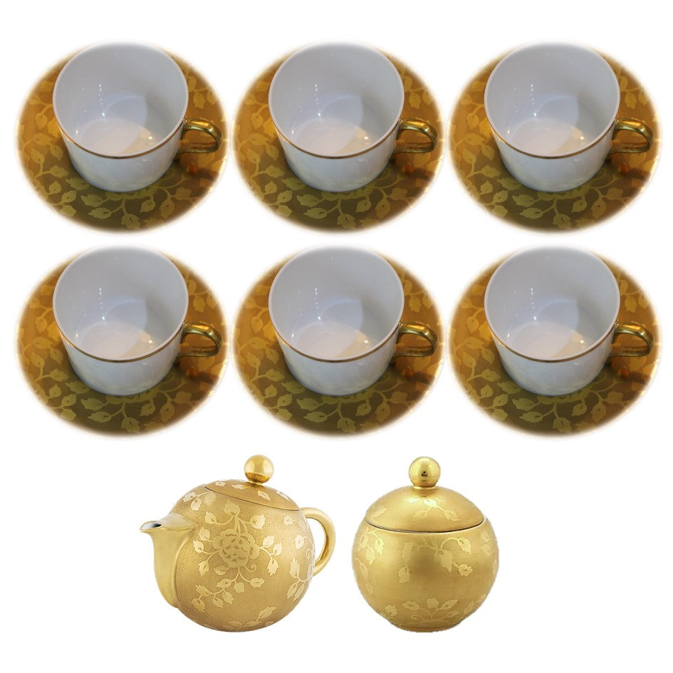 Set of 6 tea cups and saucers with sugar bowl + cream jug CHARDONS PROVENCE GOLD