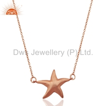 Rose Gold Plated Indian Star Design Pendant 925 Silver Chain Pendant Handmade Girls Jewelry