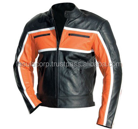ORANGE STRIPE Biker Jacket Motorbike Leather Jacket Motorcycle Leather Jacket FC-16826
