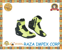 Black and Green Leather Boots Motorbike Shoes / Motorcycle Touring short Boots full waterproof