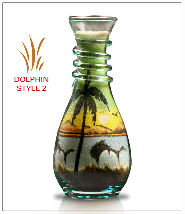 Dolphin 2 Sand Bottles - Glass Crafts & Sand Art