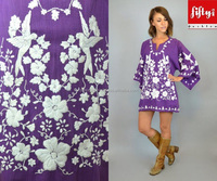EMBROIDERED dove + floral ethnic boho hippie MEXICAN TUNIC 2015