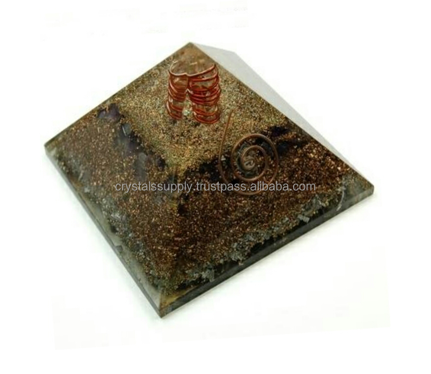 copper Pyramids : copper Layer orgone energy pyramid with crystal point orgonite Black Tourmaline pyramid healing reiki crystal