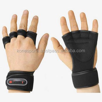 New design wrist wrap weight lifting gloves