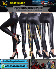 Fashion Lady Black Women Cheap Pu Leather Pants