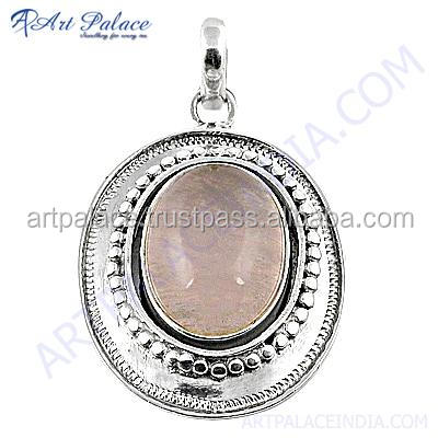 Glamorous Natural Rose Quartz Gemstone 925 Sterling Silver Jewelry Pendant Jaipur Indian Gemstone Silver Jewelry Exporter