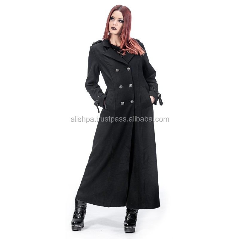 Gothic military coat for women, black wool