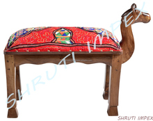 Fabric Kachchi Taka Handmade Embroidery Camel Upholstery Wooden Stool.