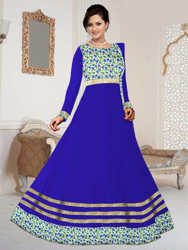 Blue georgette patch work salwar kameez
