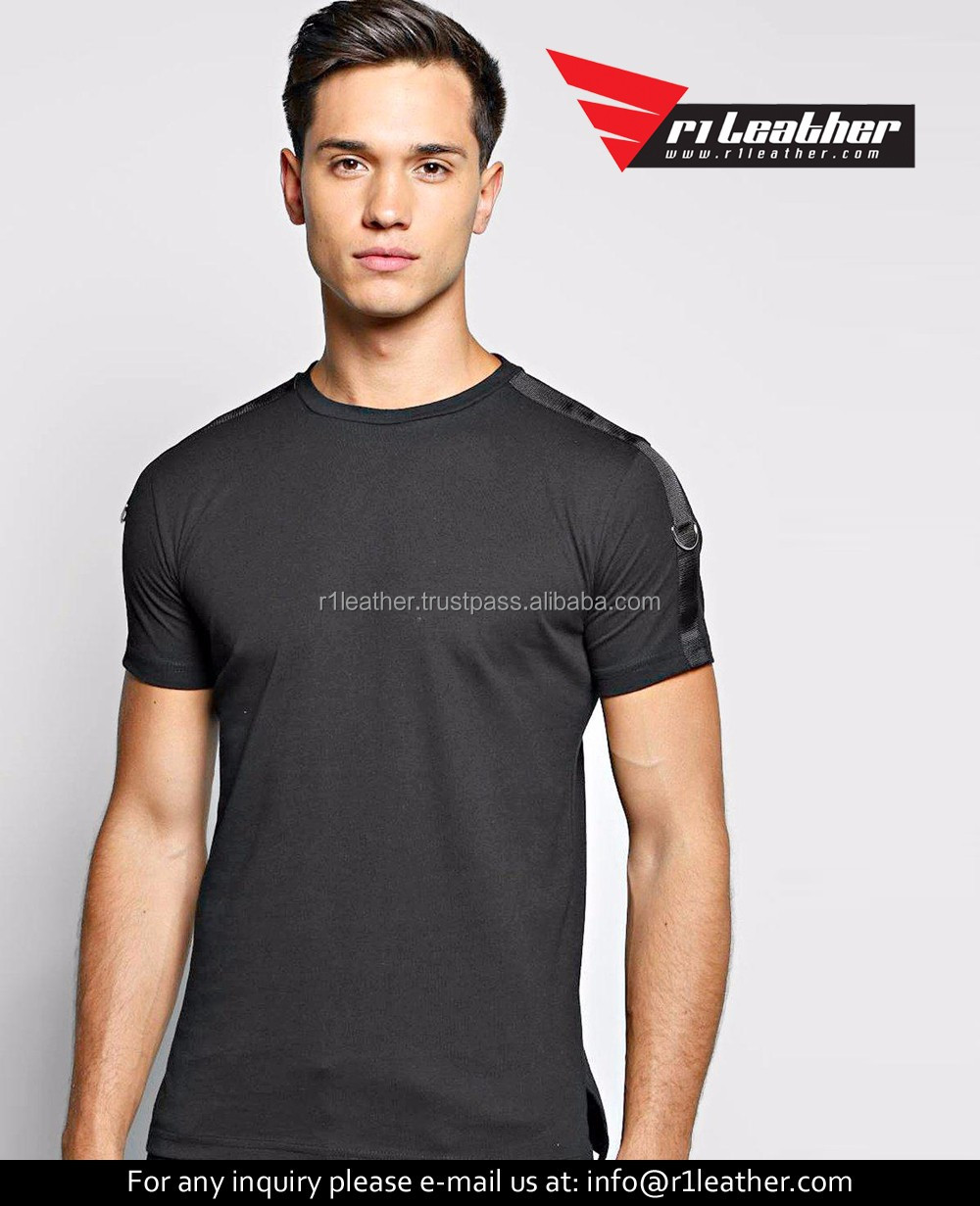 New stylish black extended men tshirt t-shirts 100% cotton t shirts manufacturers in china