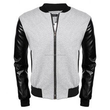 Men's Baseball Bomber Jacket Slim Fit Coat Faux Leather Sleeve