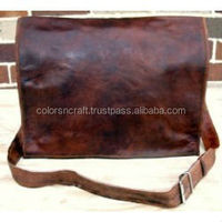 Vintage Handmade Leather Briefcase Laptop Messenger Bag