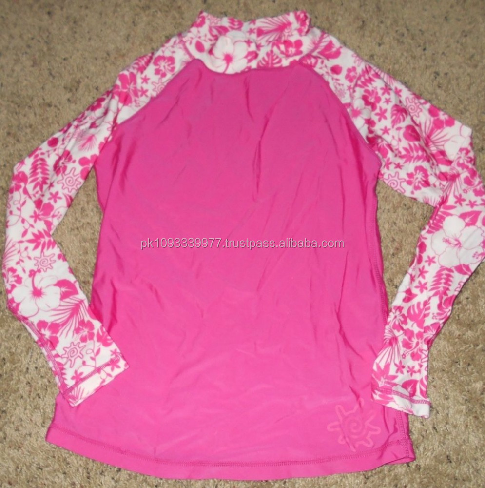UV Skinz Women's Pink/White Long Sleeved Rash Guard/Swim Shirt UPF 50+ Size XS