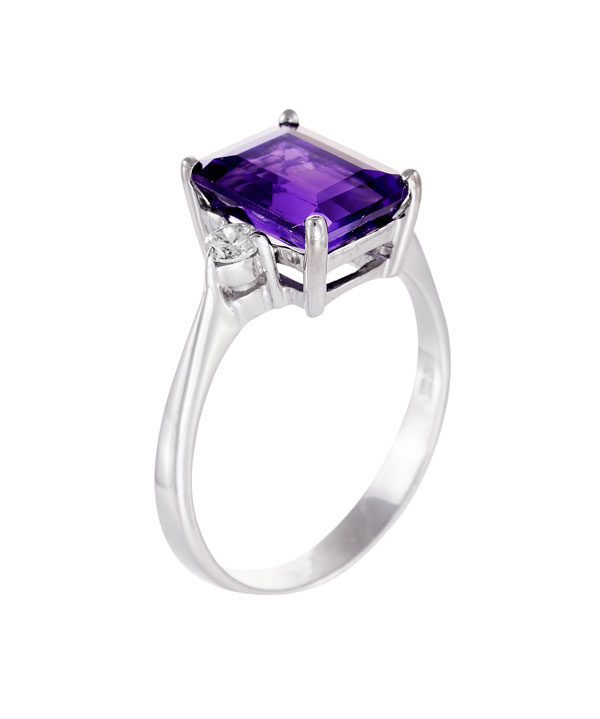 2.5 CT Amethyst 925 Silver Sterling 9K White Gold Rings Size 5-13 Diamond &Gems