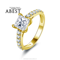 4 Prongs 6x6mm Princess 10K Gold Yellow Ring Simulated Diamond Ring Jewelry New Wedding Engagement Ring For Women Gift